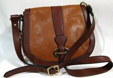 Fossil Vintage Reissue Brown Leather Saddle Crossbody Shoulder Bag w Key