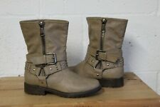 TAN BROWN FAUX LEATHER BIKER BOOTS SIZE 4 / 37 BY NEW LOOK USED CONDITION