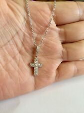 """925 Sterling Silver Micropave Small Cross Pendant Necklace 16""""-18"""""""
