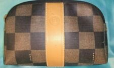 FENDI Checkered Small PVC Cosmetic Make-up Bag Purse Brown Black Beige Vintage