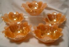 vintage Anchor Hocking orange luster swirl glass bowls Set of FIVE lustreware