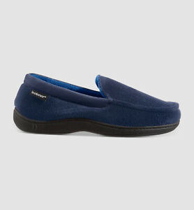 $98 Isotoner Men's Blue Memory Foam Moisture-Wicking Moccasin Slippers Shoe 8-9