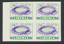"LIBERIA 1956 MELBOURNE OLYMPICS ""IMPERF AIRMAIL BLOCK"" VF NH Sc#C104 (SEE BELOW)"