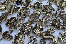Wholesale Mixed Lots 5pcs Big CZ Rhinestone Animal Gold Plated Rings FREE