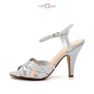 Women Open Toe Rhinestone Heel Sandals Wedding Prom Party Shimmer Size 7.5