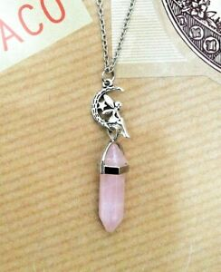 FREE GIFT BAG Silver Plated Rose Quartz Healing Crystal Wicca Chakra Necklace