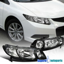 For 2006-2011 Honda Civic Coupe 2dr Headlights Black w/ Clear Reflector