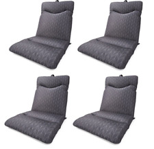 Set of 4 Grey Highback Cushion Outdoor Seat Lounge Patio Chair UV Resistant Pool
