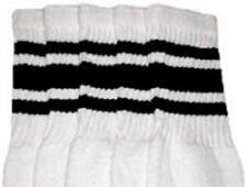 "22"" KNEE HIGH WHITE tube socks with BLACK stripes style 3 (22-35)"