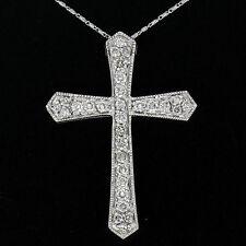 Grande 14k ORO BLANCO 1.18ctw Redondo Colgante Cruz Diamante Con / 45.7cm