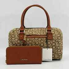 CALVIN KLEIN AUTHENTIC BROWN/LUGGAGE LEATHER/CANVAS SATCHEL PURSE W/WALLET NWT