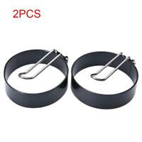 2xNon Stick METAL EGG FRYING RINGS Perfect Circle Round Fried/Poach Mould+Handle