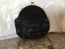 La Regale LTD Black Beaded Bag Silver Copper Gold Beads With Gold Chain Strap