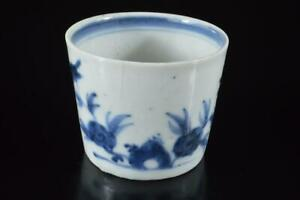 Z3041: Japan Old Imari-ware Flower Butterfly Muffle painting SOBA CUP Sobachoko