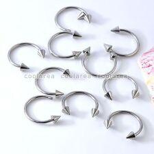 10pc Stainless Steel Silvery Spike Cone Screw Nose Rings Ring Hoop Body Piercing