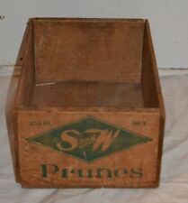 VINTAGE WOOD CRATE S & W Prunes