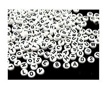 500 White Black Letters Abc Alphabet 7mm Flat Round Coin Acrylic Craft Art Beads
