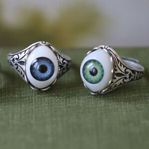 Unique Silver Men Women Vintage Blue Eyeball Ring Band Party Jewelry Gift Sz6-13