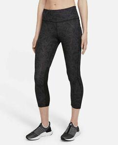 Nike Women's Epic Fast High-Rise Crop Leggings Black RRP £59.99 Size Small