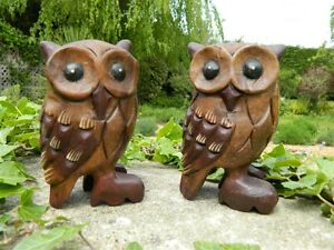 Wooden Owl Carving - Pair of Hand Carved Standing Owls