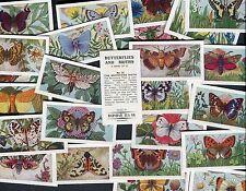 """BADSHAH TEA 1971 SET OF 25 """"BUTTERFLIES AND MOTHS"""" TEA CARDS"""