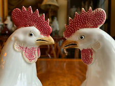 A Pair Chinese Antique Glazed Porcelain Roosters.