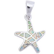 "White Opal Starfish .925 Sterling Silver Pendant 1"" long"