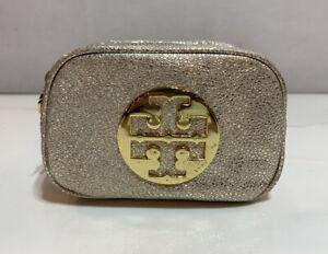 "Tory Burch Metallic Gold Metal Logo Cosmetic Bag 6"" x 4"" x 3"""