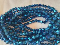 Joblot of 10 strings Blue color  6mm bicone shape Crystal beads new wholesale