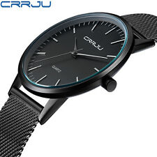 UK Luxury Ultra Thin Mens Stainless Steel Strap Sports Analog Quartz Wrist Watch