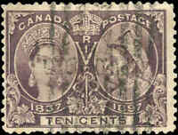 1897 Used Canada 10c F+ Scott #57 Diamond Jubilee Stamp