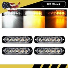 4x Amber/White Car 6 LED Emergency Strobe Light Kit Flash Warning Hazard Beacon