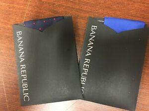 NEW Set 2 Banana Republic Mens Silk Polka Dot Pocket Square Handkerchief 4 in 1