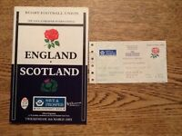 England v Scotland 1993 Rugby Union Programme and Ticket TWICKENHAM