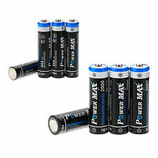4pcs 1.2V AA 2000mah+4PCS 1000mAh AAA POWER MAX NI-MH Rechargeable Battery Kit