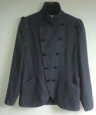 TOPMAN Grey Wool Blend Men's Pea Coat Jacket - Large