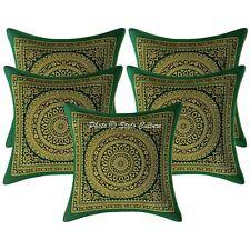 Indian Cushion Covers 30x30 cm Green Brocade Mandala Set Of 5 Scatter Pillowcase