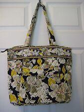 Vera Bradley Dogwood Three-O Tote Handbag Shoulder Bag Black Floral Rare