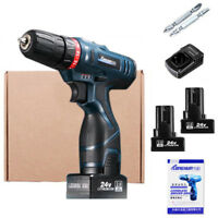 25V Electric Cordless Hammer Drill Driver Li-Ion 2 Speed Power+2*Battery+Charger