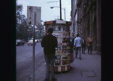 Retro Photo Slide 1970 Street scene magazine stand cars Guy smoking