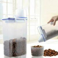 1.5L Pet Food Storage Container Airtight Dog Cats with Measuring Cup Clear S8R1