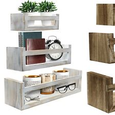 Floating Ledge Shelves, Rustic Hanging Wall Décor for Home, Bedroom - Set of 3