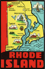 #k157 (1) Vintage Rhode Island Decal Sticker Luggage Label Laminated Newport