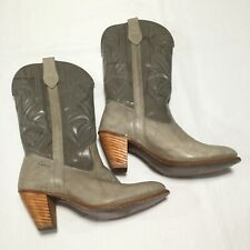 Miss Capezio Women's Gray Leather Cowboy Western Boots Sz 10 USA Made Excellent