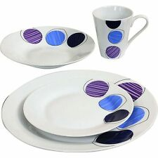16PC Dinner Set Plates Bowls Mugs Dinnerware Kitchen Service for 4 Dining Set