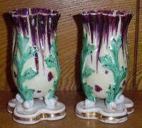 "Pair Of Antique Hand Painted Old Paris Porcelain Vases - 4 5/8"""