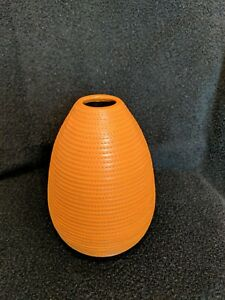 Crate and Barrel Orange Leather Wrapped Vase Made in India Clay Interior