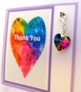 Thank you Gift Rainbow Heart Clip-on Charm NHS Key Worker Carer Nurse Anyone