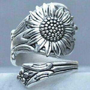 Handmade Women 925 Silver Sunflower Spoon Ring Wedding Jewelry Adjustable