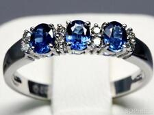 Three-Stone Sapphire White Gold Engagement Rings
